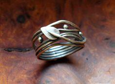 Elven Ring  sterling silver oxidised leaf vine  by Dreamspell