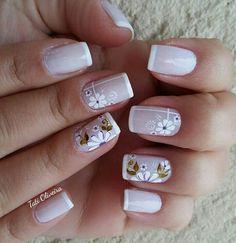 Unhas decoradas delicadas · unhas com ponta branca, unhas rosa, unhas básicas, cabelo e unhas, unhas Shellac Nails, Acrylic Nails, Cute Nails, Pretty Nails, Nail Art Designs, Flower Nail Art, Stylish Nails, Fabulous Nails, French Nails