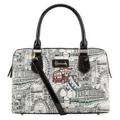 Harrods Monochrome London Barrel (4.605 RUB) ❤ liked on Polyvore featuring bags, handbags, zipper purse, print handbags, zip bags, harrods bag and pattern bag