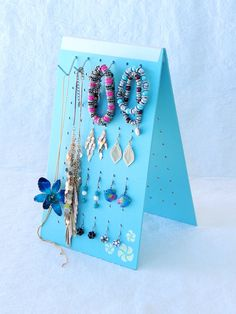 JEWELLERY ORGANIZER Home or Travel, Earring Holder, Necklace Holder,  Bracelet Holder, Earring Storage, Jewelry Stand, Aqua with Frangipani