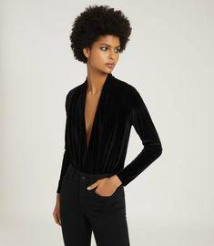 Rosalba Black Long Sleeved Velvet Bodysuit – REISS Long Sleeve Velvet Bodysuit, Reiss, Plunging Neckline, Denim, Skirts, Sleeves, How To Wear, Black, Women