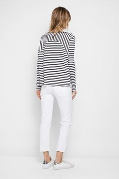 Zadig & Voltaire striped crew-neck T-shirt, long sleeves, wide at the hem, 60% cotton, 40% modal.