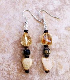 Stone and Wood Earrings Glass Stone Earrings Glass by FrancaandNen