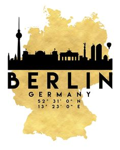 BERLIN GERMANY SILHOUETTE SKYLINE MAP ART -  The beautiful silhouette skyline of Berlin and the great map of Germany in gold, with the exact coordinates of Berlin make up this amazing art piece. A great gift for anybody that has love for this city. Contact me: digital@deificusart.com  berlin germany downtown silhouette skyline map coordinates souvenir gold deificus art