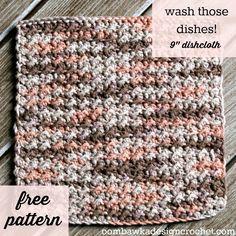 Wash those Dishes! Free Dishcloth (or Facecloth) Crochet Pattern  #crochet #freepattern