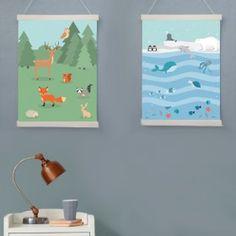Poster Bosdieren en pooldieren met ophangsysteem
