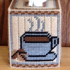 Coffee Tissue Box Cover plastic canvas needlepoint item