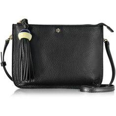 Tory Burch Handbags Tassel Black Leather Crossbody (£260) ❤ liked on Polyvore featuring bags, handbags, shoulder bags, evening bags, leather handbags, leather crossbody, leather fringe handbags and tory burch handbags