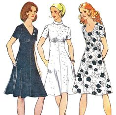 1970s Dress Pattern Empire Waist Fit and Flare Dress Flared Skirt Day or Evening Dress Womens Vintage Sewing Pattern Simplicity 9913 Bust 34...