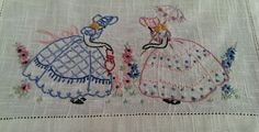 Vintage Embroidered Linen Table Dresser Runner w/Pink & Blue Southern Belles