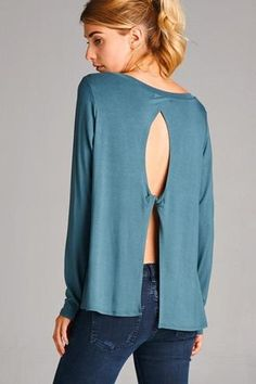 janelle. open back long sleeve top