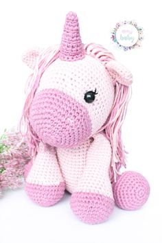 Pink unicorn stuffed animal, plush unicorn, unicorn toy, crochet unicorn, crocheted soft animal doll, amigurumi unicorn, nursery decor, Unicorn Stuffed Animal, Crochet Baby Toys, Crochet Unicorn, Nursery Decor, Hello Kitty, Plush, Dolls, Etsy, Pink