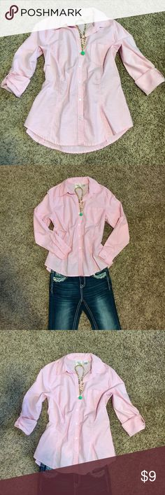 Button up shirt Riders by Lee button up shirt.  Nice feminine fit. Pale pink and white stripes. Sleeves have button closure so they can be rolled up for relaxed look. Back is slightly longer. Wore one time. In EUC with no stains or rips. Riders by Lee Tops Button Down Shirts