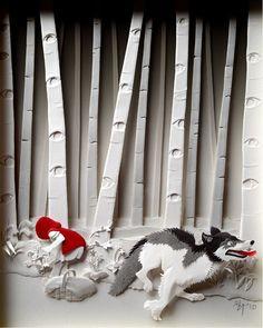 Contes papier Illustration Little Red Riding Hood Giclee Art Print Grimm Fairy 3d Paper Art, Paper Toy, Paper Artwork, Paper Artist, Kirigami, Paper Cutting, Paper Illustration, Food Illustrations, Red Riding Hood
