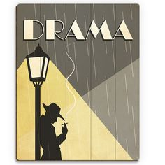 """Click Wall Art 'Drama Film' Graphic Art on Plaque Size: 30"""" H x 20"""" W x 1"""" D"""