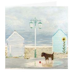 HANNAH COLE WHISTLEFISH DOG BREAKERS SEASIDE NEW BLANK GREETING CARD