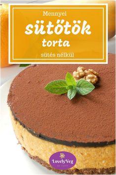 Sütőtök torta - Sütés nélkül! - LovelyVeg Paleo, Keto, Tiramisu, Sugar Free, Bacon, Bakery, Recipies, Veggies, Pudding