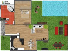 Is the pool too big, or just right? :D  Plan your backyard paradise in 3D: http://planner.roomsketcher.com/?ctxt=rs_com  3D floor plan for family home with backyard pool and lawn furniture - Designed in RoomSketcher by andreame