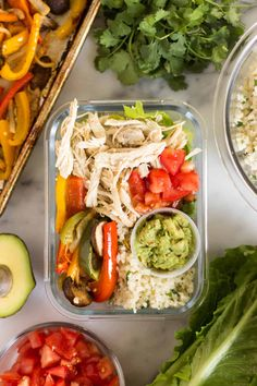 Meal Prep Paleo Chicken Burrito Bowls make for a fresh, inexpensive, and healthy dish for an easy meal or meal prep. Makes 5 servings, ready in under an hour, and Whole30 approved! - Eat the Gains #mealprep #Whole30 #mealplanning #paleo