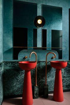 Lavabo Design, Wc Design, Toilet Design, Restroom Design, Bathroom Interior Design, Interior Design Awards, Interior Exterior, Interior Architecture, Copper Interior