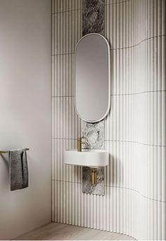 Bathroom Mirror Design, Bathroom Interior Design, Home Interior, Modern Bathroom, Small Bathroom, Bathroom Ideas, Minimal Bathroom, Bathroom Designs, Marble Bathrooms