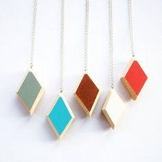 Wooden Geo Diamond Necklace from notonthehighstreet.com