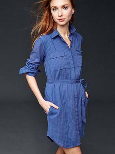 Long sleeve textured shirtdress