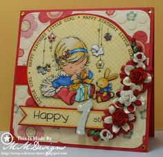 Scrap-a-licious-times: Happy 1st Birthday Little Girl Card.