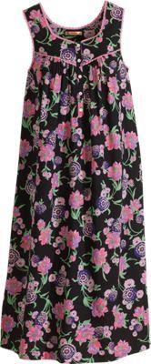 April Cornell's Black Floral Nightgown Sleepwear Women, Lingerie Sleepwear, Nightwear, Night Gown Dress, Nightgown Pattern, Churidar Designs, April Cornell, Nightgowns For Women, Apron Dress