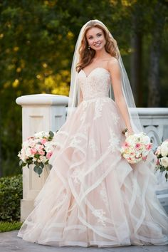 Style 6432, pink floral lace textured wedding dress, Stella York #weddingdress