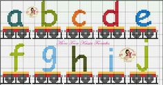 Alphabet train, lower case, a-j Cross Stitch Alphabet, Cross Stitch Baby, Cross Stitch Embroidery, Bead Loom Patterns, Cross Stitch Patterns, Alphabet And Numbers, Stitch 2, Toddler Crafts, Free Time