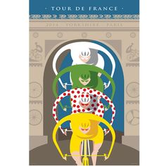 Cycling Art TdF Arc de Triomphe.  Celebrating the 2014 Tour de France with the winning jerseys as a Giclee print on watercolor stock.  FREE shipping on all cycling art prints.