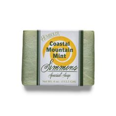 Fresh as a mountain breeze, Simmons Coastal Mountain Mint Bar Soap is an aromatic blend. It isherbal and minty, cooling and tonic to body and spirit. Minty green with chlorella, whichis a lovely algae known throughout Asia for anti-bacterial properties which aids in fighting infections.    Ingredients: water, saponified: Pure Tuscan Olea Europaea (Olive) Fruit Oil; organic Elaeis Guineensis (Palm) Fruit Oil; and organic Cocos Nucifers (Coconut) Oil.    Essential Oils: Chlorella, Clary…