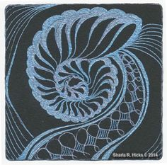Nautilus in Blue by Sharla R. Hicks, ©2012 using Sakura Metallic Gelly Roll Pens. Visit blog for more Black, White, Gold & Glitz themed Posts