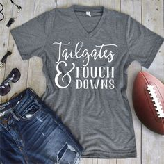 Tailgates and Touchdowns Tee  Vinyl Tee by TheCustomStudioShop