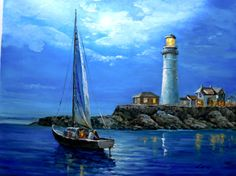 Seascape oil painting of sailboat marine sailing moon by tigerwong, $195.00