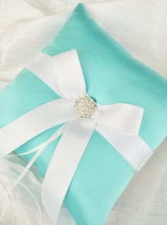 Tiffany Blue Wedding Ring Bearer Pillow - Satin Ring Bearer Pillow. $39.00, via Etsy.