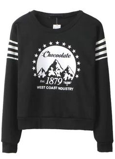 Black Long Sleeve 1879 Print Sweatshirt - Sheinside.com