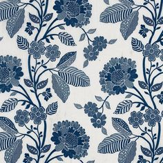 Schumacher Elspeth is a blooming, bold-scale floral pattern stitched in exquisite detail. Subtle variations are part of its inherent natural beauty. Fabric Birds, Ikat Fabric, Chinoiserie Motifs, Wallpaper Size, Schumacher, Decorative Pillow Covers, Fabric Samples, Fabric Patterns, Floral Patterns