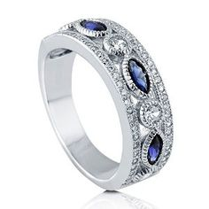 Sterling Silver Simulated Blue Sapphire CZ Art Deco Womens Eternity Band Ring available at joyfulcrown.com