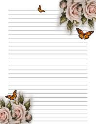 Lined Paper You Can Print Flower 001 - Printable Coloring Pages Printable Lined Paper, Free Printable Stationery, Journal Paper, Journal Cards, Envelopes, Lined Writing Paper, Writing Papers, Stationery Paper, Note Paper