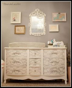 Do you need a new vanity? or remake your old one/ a desk? this is a DIY project: white paint. silver paint. lace. old furniture