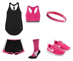 """black and pink nike trend!"" by gracief-9 on Polyvore featuring NIKE"