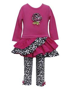 This STYLISH fuchsia and black cheetah print top & leggings 2pc set for your baby girl by Bonnie Jean  (sz.12m - 24m)
