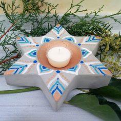 Deko-Objekte - Teelichthalter Beton,Stern Beton bemalt,Betonstern - ein Designerstück von KIMAMA-design-Andrea-Abraham bei DaWanda