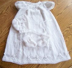 New Hand Knit Angel Christening Gown Bonnet and by hookinontheside, $90.00