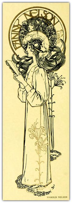 Exlibris design for Fanny Nelson by Harold Nelson. Published 1898 in 'Modern book-plates and their designers.'