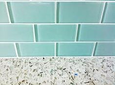 turquoise glass subway tile - Google Search with recycled glass countertops