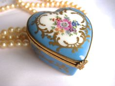 French Porcelain Heart shaped Box