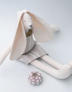 Easter baby bunny rabbit in a bag textile doll dressed in dusky stuffed calico bunny rabbit softie girl cuddly toy in cream striped linen sundress flower girl flower girl giftsflower girlseaster negle Gallery